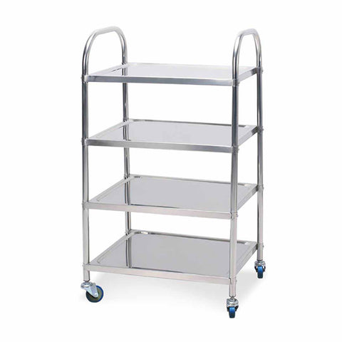 SOGA 4 Tier Stainless Steel Kitchen Dinning Food Cart Trolley Utility Round 48x32x79cm