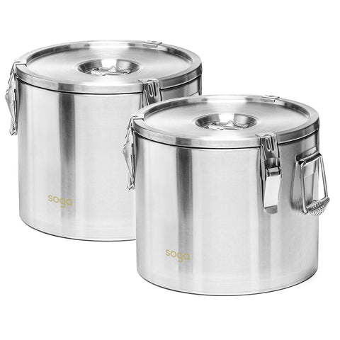 SOGA 2X 20L 304 Stainless Steel Insulated Food Carrier Warmer Container