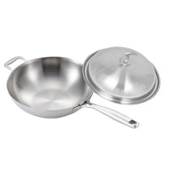 SOGA 18/10 Stainless Steel Fry Pan 34cm Frying Pan Top Grade Skillet with Helper Handle and Lid