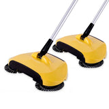SOGA 2x Hand Push Sweeper Broom Lazy Auto Spin Household Cleaning No Electricity Yellow