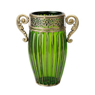 SOGA Green European Colored Glass Home Decor Jar Flower Vase with Two Metal Handle