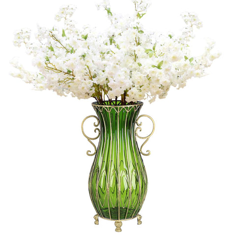 Soga 51cm Green Glass Tall Floor Vase And 10pcs White Artificial Fake Heyhey Com Au