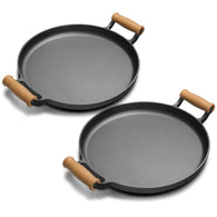 SOGA 2X 35cm Cast Iron Frying Pan Skillet Steak Sizzle Fry Platter With Wooden Handle No Lid