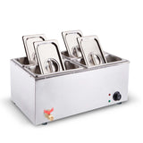 SOGA Stainless Steel 4 X 1/2 GN Pan Electric Bain-Marie Food Warmer with Lid