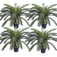 SOGA 4X 125cm Artificial Indoor Cycas Revoluta Cycad Sago Palm Fake Decoration Tree Pot Plant