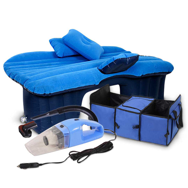 SOGA Portable Travel Camping Car Set Inflatable Air Bed Mattress Storage Organiser Handheld Vacuum Cleaner Blue