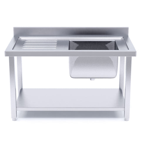 SOGA Stainless Steel Work Bench Right Sink Commercial Restaurant Kitchen Food Prep Table 120*70*85
