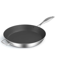 SOGA Stainless Steel Fry Pan 34cm Frying Pan Induction FryPan Non Stick Interior