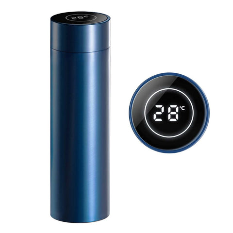 SOGA 500ML Stainless Steel Smart LCD Thermometer Display Bottle Vacuum Flask Thermos Blue