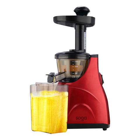 SOGA Cold Press Slow Juicer Fruit Vegetable Processor Juice Extractor Red
