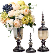 SOGA 2 x Clear Glass Flower Vase with Lid and White Flower Filler Vase Black Set