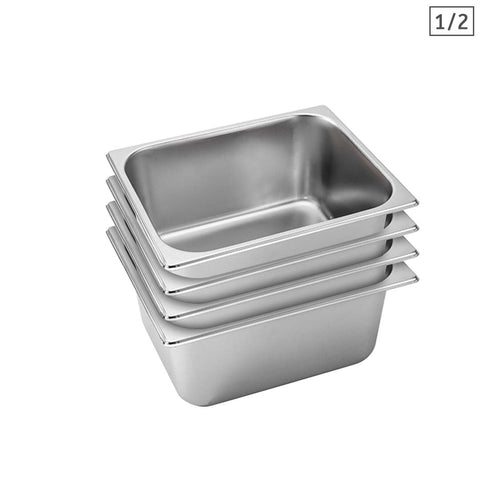 SOGA 4X Gastronorm GN Pan Full Size 1/2 GN Pan 15cm Deep Stainless Steel Tray