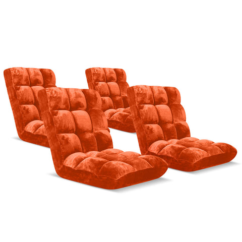 SOGA Floor Recliner Folding Lounge Sofa Futon Couch Folding Chair Cushion Orange x4