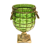 SOGA Green Colored European Glass Jar Flower Vase Solid Base with Metal Handle