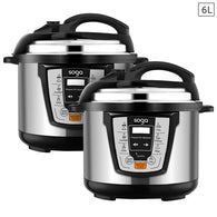 SOGA 2X Electric Stainless Steel Pressure Cooker 6L 1600W Multicooker 16