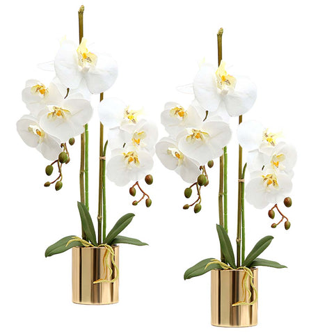 SOGA 2X White Artificial Fake Orchid Flower in Copper Metal Vase Set