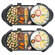SOGA 2X 2 in 1 Electric Non-Stick BBQ Teppanyaki Grill Plate Steamboat Hotpot 2-8 Person