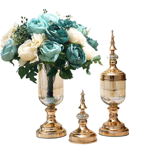 SOGA 2 x Clear Glass Flower Vase with Lid and Blue Flower Filler Vase Gold Set