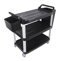 SOGA 3 Tier Food Trolley Food Waste Cart With Two Bins Storage Kitchen Black 102x50x96cm Large