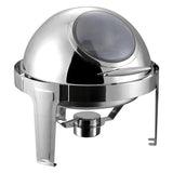 SOGA Round Chafing Stainless Steel 6L Food Warmer with Glass Roll Top