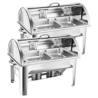 SOGA 2X 4.5L Dual Tray Stainless Steel Roll Top Chafing Dish Food Warmer