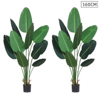 SOGA 2X 160cm Artificial Green Indoor Traveler Banana Fake Decoration Tree Flower Pot Plant