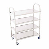 SOGA 4 Tier Stainless Steel Kitchen Dinning Food Cart Trolley Utility Size Square 55x32x79cm Medium