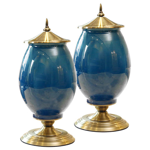 SOGA 2x 40cm Ceramic Oval Flower Vase with Gold Metal Base Dark Blue