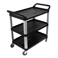 SOGA 3 Tier Food Trolley Food Waste Cart Storage Mechanic Kitchen Black 10.2x50x95cm Large