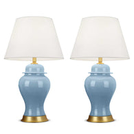 SOGA 2x Oval Ceramic Table Lamp with Gold Metal Base Desk Lamp Blue