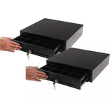 SOGA 2X Black Heavy Duty Cash Drawer Manual 4 Bills 8 Coins Cheque Slot Tray Pos 410