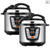 SOGA 2X Stainless Steel Electric Pressure Cooker 6L Nonstick 1600W