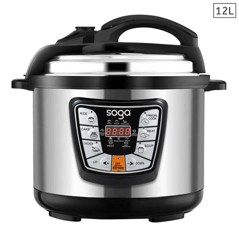 SOGA Stainless Steel Electric Pressure Cooker 12L Nonstick 1600W