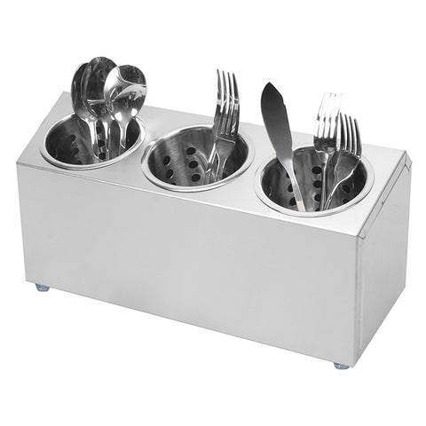SOGA 18/10 Stainless Steel Commercial Conical Utensils Cutlery Holder with 3 Holes