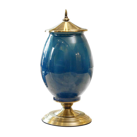 SOGA 40cm Ceramic Oval Flower Vase with Gold Metal Base Dark Blue