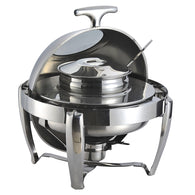 SOGA 6.5L Stainless Steel Round Soup Tureen Bowl Station Roll Top Buffet Chafing Dish Catering Chafer Food Warmer Server