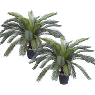 SOGA 2X 125cm Artificial Indoor Cycas Revoluta Cycad Sago Palm Fake Decoration Tree Pot Plant
