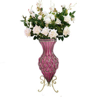 SOGA 67cm Purple Glass Tall Floor Vase & 12pcs White Artificial Fake Flower Set