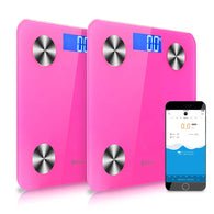 SOGA 2x Wireless Bluetooth Digital Body Fat Scale Bathroom Health Analyser Weight Pink