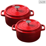 SOGA 2X Cast Iron 24cm Enamel Porcelain Stewpot Casserole Stew Cooking Pot With Lid Red