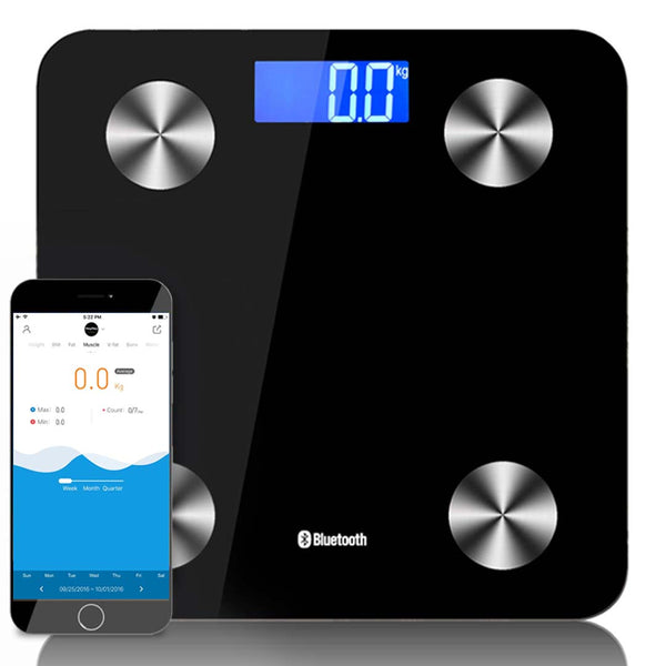 SOGA Wireless Bluetooth Digital Body Fat Scale Bathroom Health Analyser Weight Black