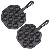 SOGA 2X 18CM Cast Iron Takoyaki Fry Pan Octopus Balls Maker 12 Hole Cavities Grill Mold
