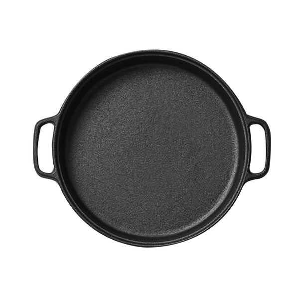 SOGA Cast Iron Frying Pan Skillet Non-stick Coating Steak Sizzle Platter 30cm
