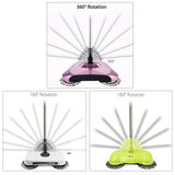 Auto Household Spin Hand Push Sweeper Home Broom Room Floor Dust Cleaner Mop Purple