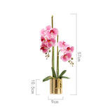 SOGA Pink Artificial Fake Orchid Flower in Copper Metal Vase Set