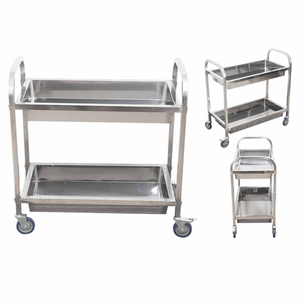 Soga 2 Tier Stainless Steel Kitchen Trolley Bowl Collect