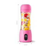 SOGA 380ml Portable Mini USB Rechargeable Handheld Fruit Mixer Juicer Pink