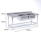SOGA Stainless Steel Work Bench Right Dual Sink Commercial Restaurant Kitchen Food Prep 160*70*85