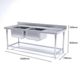 SOGA Stainless Steel Double Sink Bowl Work Bench Commercial Restaurant Food Prep 160*70*85cm