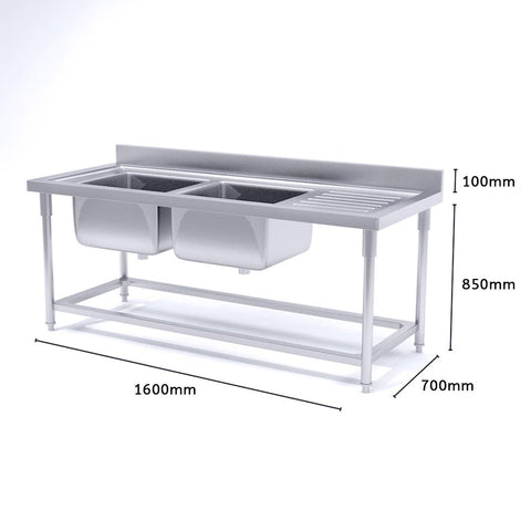 Soga Stainless Steel Double Sink Bowl Work Bench